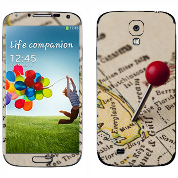Виниловая наклейка «Майами на карте» на телефон Samsung Galaxy S4