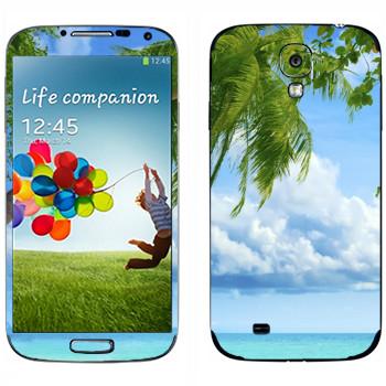 Виниловая наклейка «Пальма на пляже Майами» на телефон Samsung Galaxy S4
