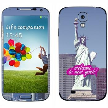 Виниловая наклейка «Статуя Свободы  - Добро пожаловать в Нью-Йорк» на телефон Samsung Galaxy S4