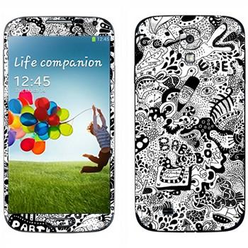 Виниловая наклейка «WorldMix черно-белый» на телефон Samsung Galaxy S4