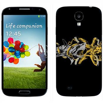 Виниловая наклейка «Акула против осьминога» на телефон Samsung Galaxy S4