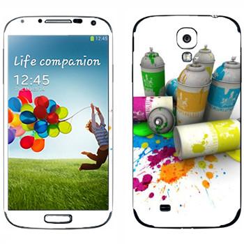 Виниловая наклейка «Баллончики с краской» на телефон Samsung Galaxy S4