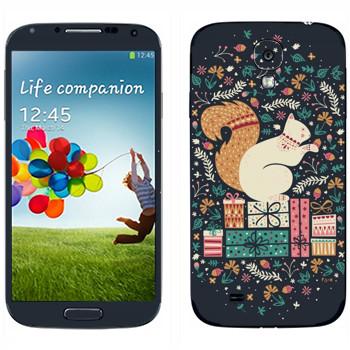Виниловая наклейка «Белка на подарках» на телефон Samsung Galaxy S4