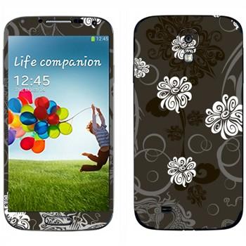 Виниловая наклейка «Белые цветы на сером фоне» на телефон Samsung Galaxy S4
