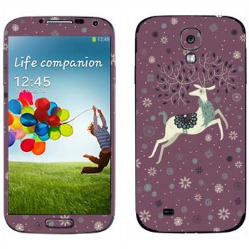 Виниловая наклейка «Белый олень» на телефон Samsung Galaxy S4