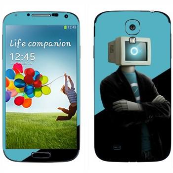 Виниловая наклейка «Человек-компьютер» на телефон Samsung Galaxy S4