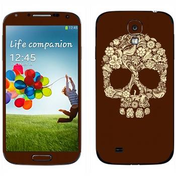 Виниловая наклейка «Череп цветами» на телефон Samsung Galaxy S4