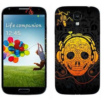 Виниловая наклейка «Череп в наушниках» на телефон Samsung Galaxy S4
