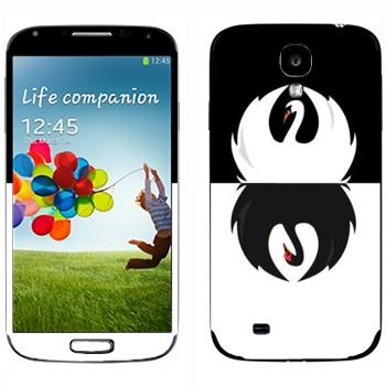 Виниловая наклейка «Черный и белый лебеди» на телефон Samsung Galaxy S4