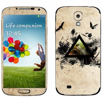Виниловая наклейка «Черный треугольник и деревья с птицами» на телефон Samsung Galaxy S4
