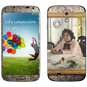Виниловая наклейка «Девочка с персиками  - Валентин Серов» на телефон Samsung Galaxy S4