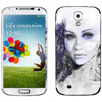 Виниловая наклейка «Девушка арт» на телефон Samsung Galaxy S4