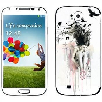 Виниловая наклейка «Девушка на крыше» на телефон Samsung Galaxy S4