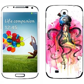 Виниловая наклейка «Девушка в объятьях осьминога» на телефон Samsung Galaxy S4