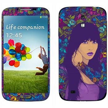 Виниловая наклейка «Девушка в цветах» на телефон Samsung Galaxy S4