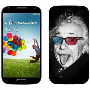 Виниловая наклейка «Эйнштейн в разноцветных очках» на телефон Samsung Galaxy S4