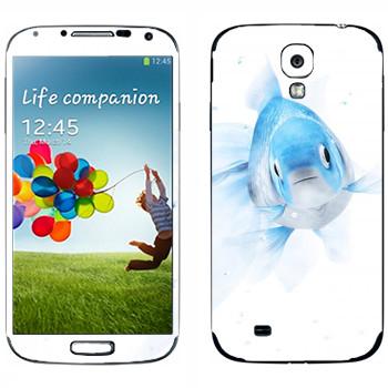 Виниловая наклейка «Голубая рыбка» на телефон Samsung Galaxy S4
