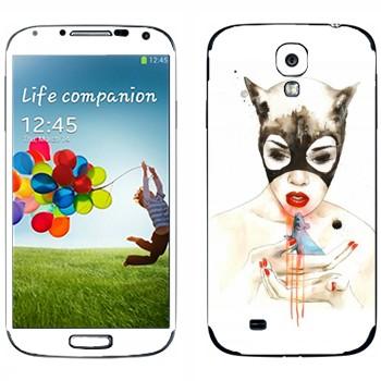 Виниловая наклейка «Женщина-кошка» на телефон Samsung Galaxy S4