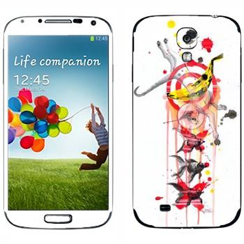 Виниловая наклейка «Кот и рыбка» на телефон Samsung Galaxy S4