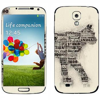 Виниловая наклейка «Кот из газетных заголовков» на телефон Samsung Galaxy S4