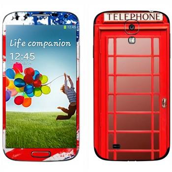 Виниловая наклейка «Красная телефонная будка» на телефон Samsung Galaxy S4