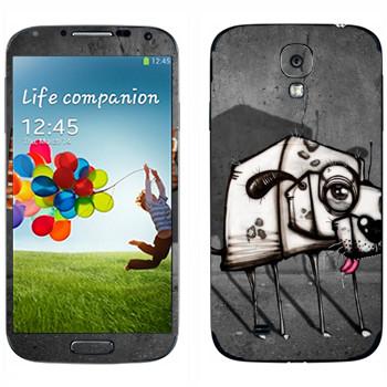 Виниловая наклейка «Квадратный пес» на телефон Samsung Galaxy S4
