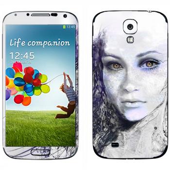 Виниловая наклейка «Лицо девушки» на телефон Samsung Galaxy S4