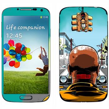 Виниловая наклейка «Лысый мужик с пластырем на шее» на телефон Samsung Galaxy S4