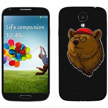Виниловая наклейка «Медведь в кепке и очках» на телефон Samsung Galaxy S4