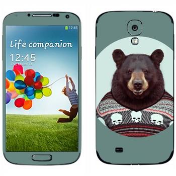 Виниловая наклейка «Медведь в свитере» на телефон Samsung Galaxy S4