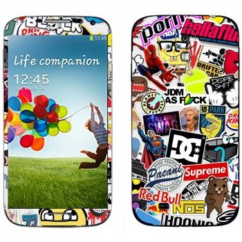Виниловая наклейка «Множество стикеров» на телефон Samsung Galaxy S4