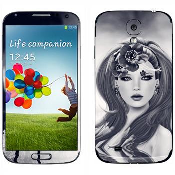 Виниловая наклейка «Нарисованная девушка с цветком» на телефон Samsung Galaxy S4