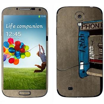 Виниловая наклейка «Нарисованный таксофон» на телефон Samsung Galaxy S4