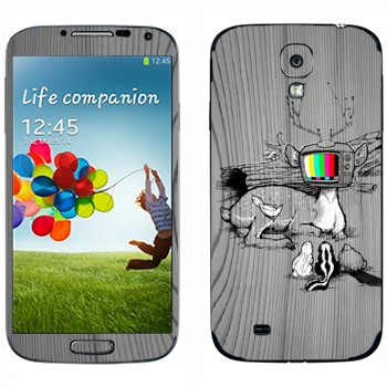 Виниловая наклейка «Олень-телевизор» на телефон Samsung Galaxy S4