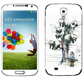 Виниловая наклейка «Панды на дереве» на телефон Samsung Galaxy S4