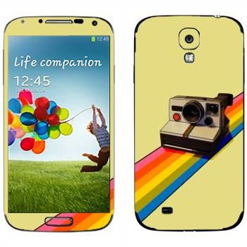 Виниловая наклейка «Полароид на радуге» на телефон Samsung Galaxy S4
