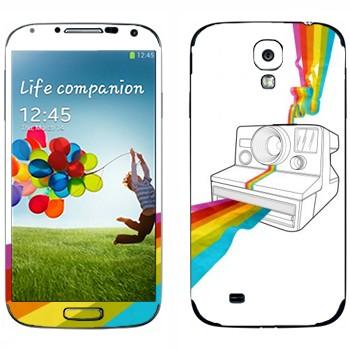 Виниловая наклейка «Полароид печатает радугу» на телефон Samsung Galaxy S4