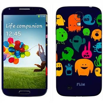 Виниловая наклейка «Разноцветные монстрики» на телефон Samsung Galaxy S4