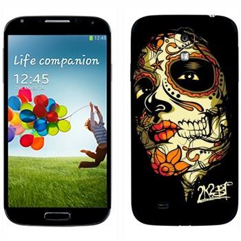 Виниловая наклейка «Разрисованное лицо девушки - Боди-арт» на телефон Samsung Galaxy S4
