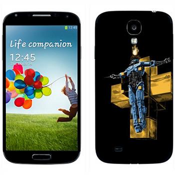 Виниловая наклейка «Робокоп на кресте» на телефон Samsung Galaxy S4