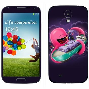 Виниловая наклейка «Розовый осьминог и танкер» на телефон Samsung Galaxy S4