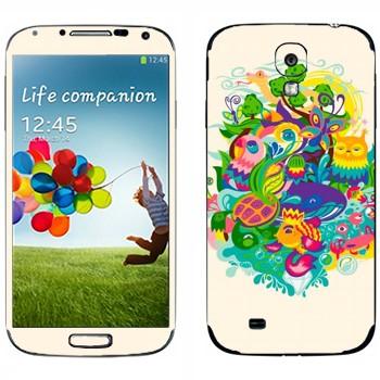 Виниловая наклейка «Сказочные зверюшки» на телефон Samsung Galaxy S4