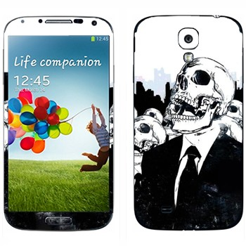 Виниловая наклейка «Скелеты в костюмах» на телефон Samsung Galaxy S4