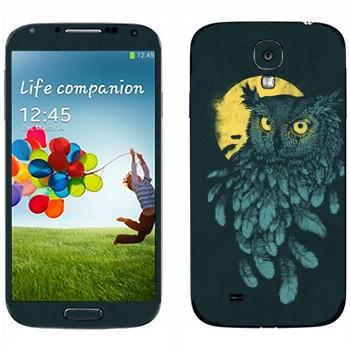 Виниловая наклейка «Сова и Луна» на телефон Samsung Galaxy S4