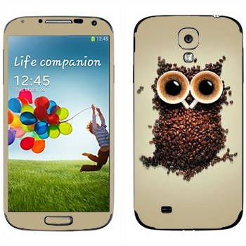 Виниловая наклейка «Сова из кофейных зерен и двух чашек» на телефон Samsung Galaxy S4
