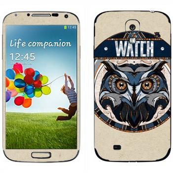 Виниловая наклейка «Сова наблюдает» на телефон Samsung Galaxy S4