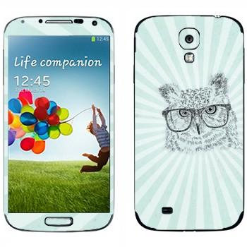 Виниловая наклейка «Сова в очках» на телефон Samsung Galaxy S4