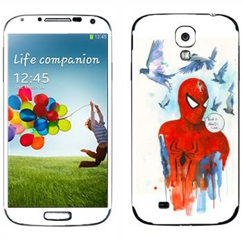 Виниловая наклейка «Спайдермэн и голуби» на телефон Samsung Galaxy S4