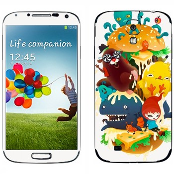 Виниловая наклейка «Странное зверье» на телефон Samsung Galaxy S4