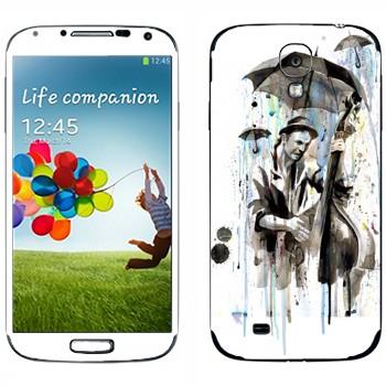 Виниловая наклейка «Уличный музыкант под дождем» на телефон Samsung Galaxy S4